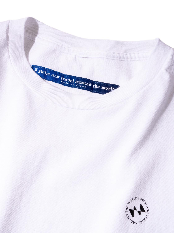 【撥水加工済】コットン100%使用 I SWIMロゴ001 半袖Tシャツ - 白