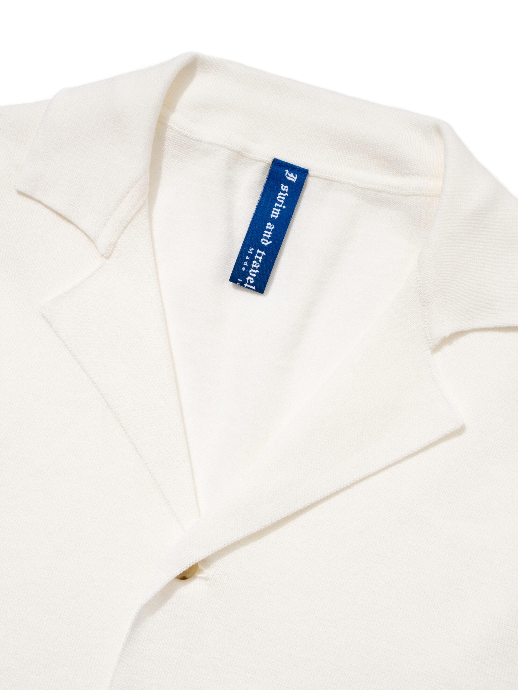 【超撥水】オーガニックコットン100%使用 最高級 半袖オープンニットシャツ - 白