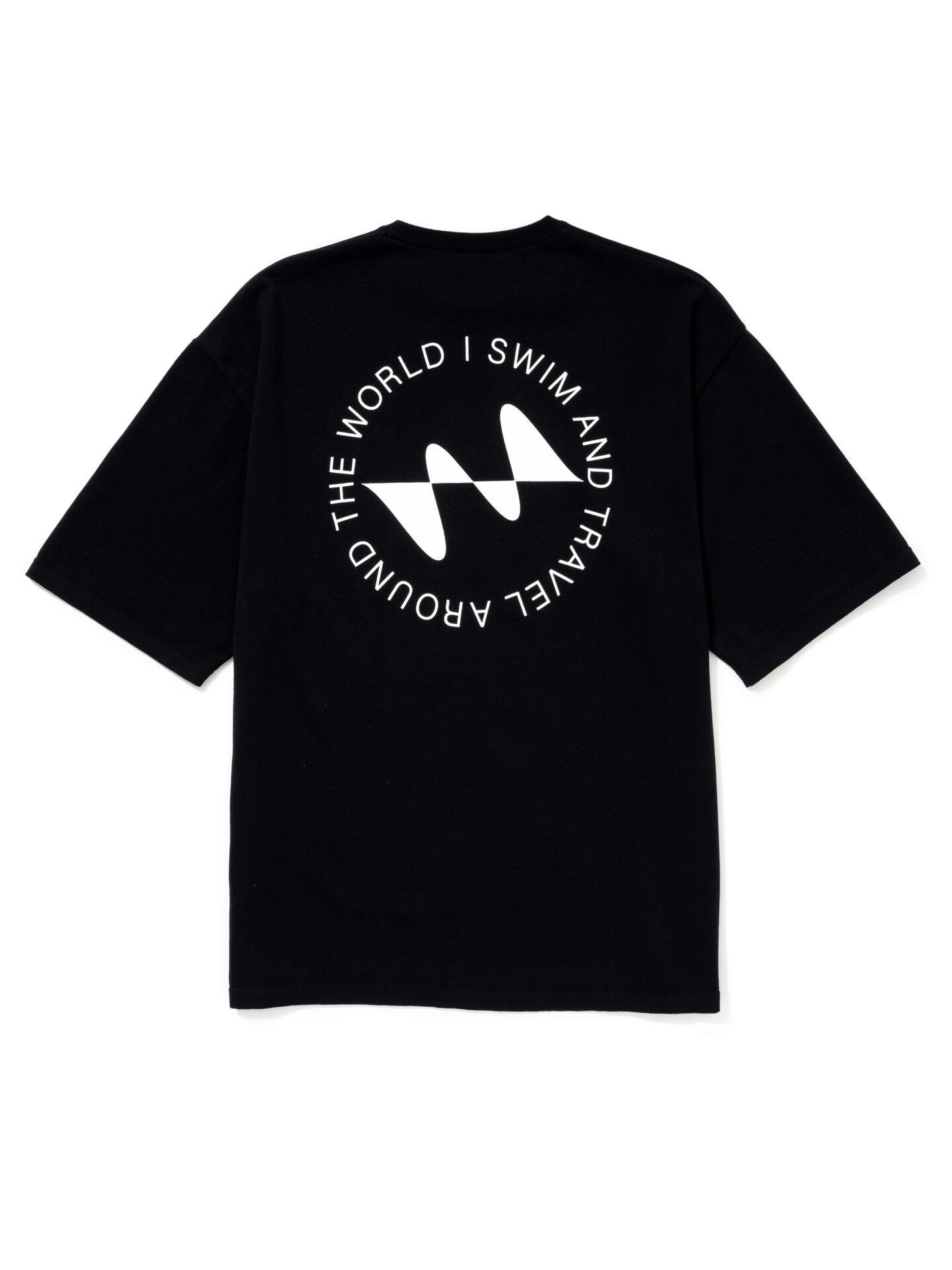【超撥水】オーガニックコットン100%使用 最高級 I SWIMロゴ半袖Tシャツ -黒