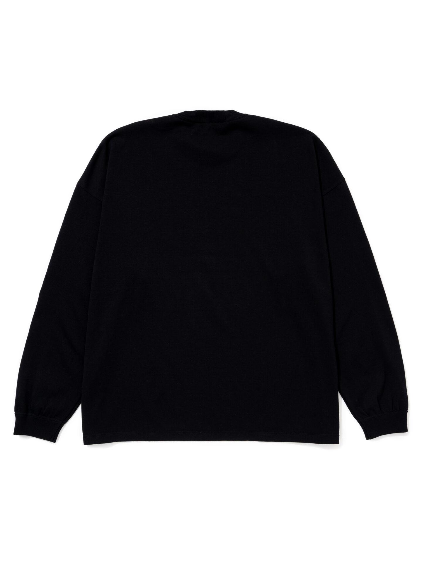 """【超撥水】オーガニックコットン100%使用 最高級 カレッジスタイル""""SWIM""""ロゴ長袖Tシャツ -黒"""