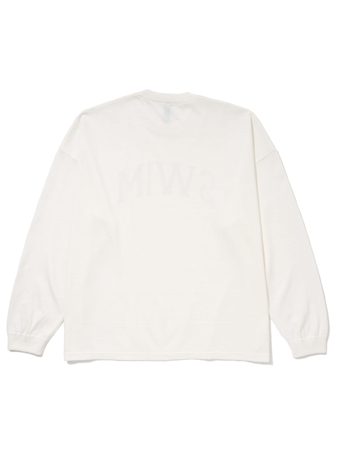 """【超撥水】オーガニックコットン100%使用 最高級 カレッジスタイル""""SWIM""""ロゴ長袖Tシャツ -白"""