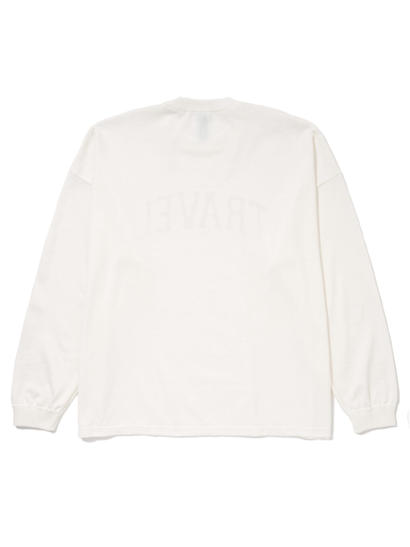 """【超撥水】オーガニックコットン100%使用 最高級 カレッジスタイル""""TRAVEL""""ロゴ長袖Tシャツ -白"""