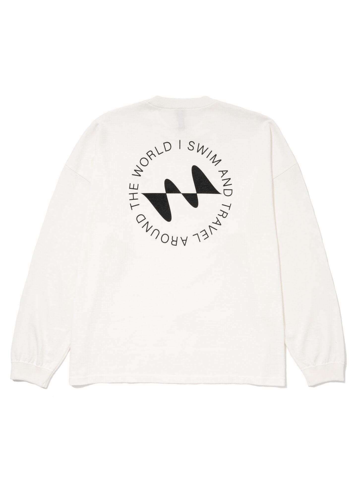 【超撥水】オーガニックコットン100%使用 最高級 I SWIMロゴ長袖Tシャツ -白