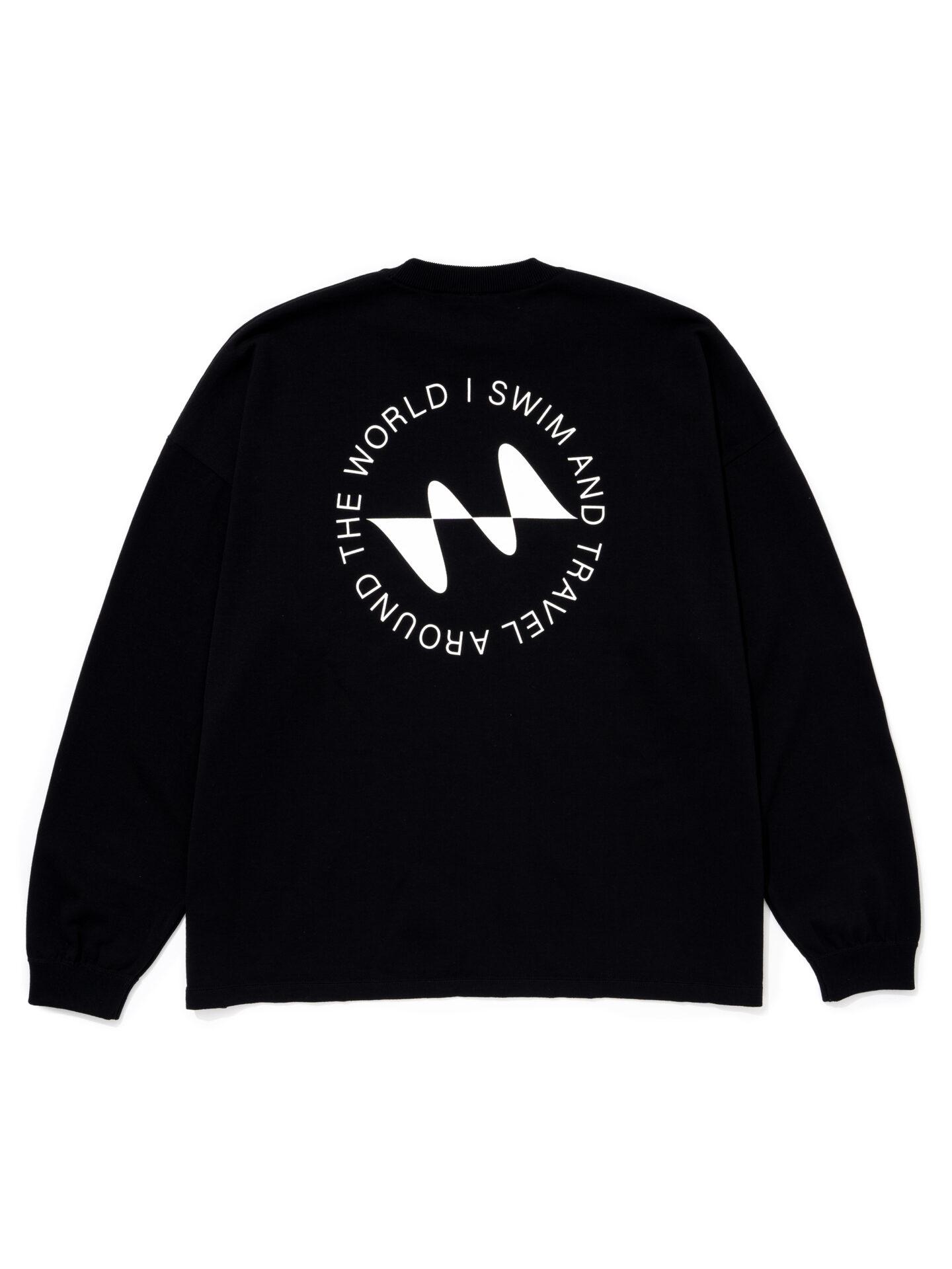【超撥水】オーガニックコットン100%使用 最高級 I SWIMロゴ長袖Tシャツ -黒