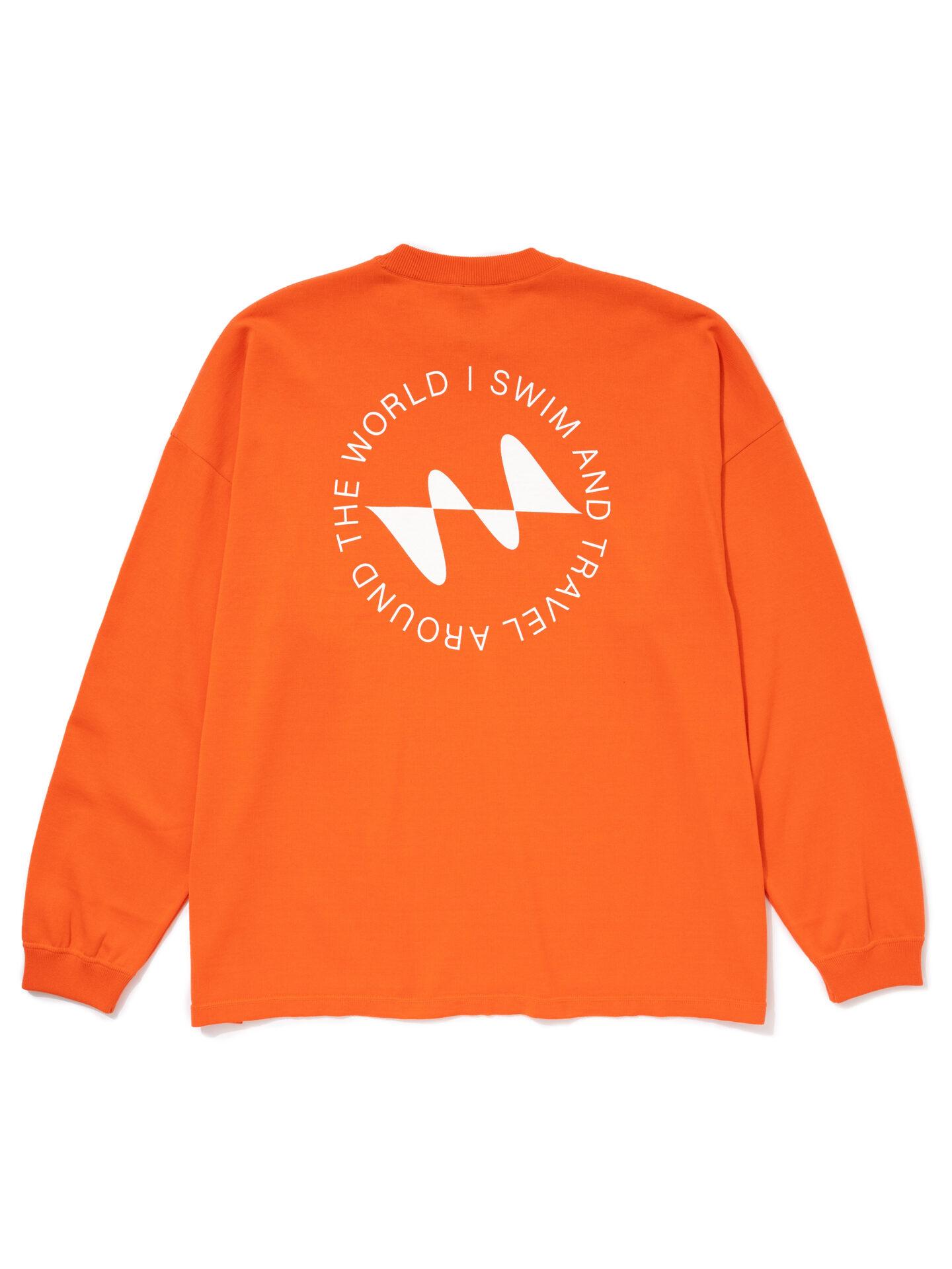 【超撥水】オーガニックコットン100%使用 最高級 I SWIMロゴ長袖Tシャツ -オレンジ