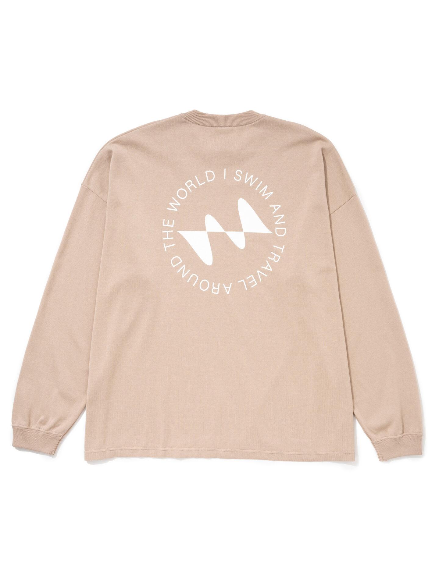 【超撥水】オーガニックコットン100%使用 最高級 I SWIMロゴ長袖Tシャツ -ベージュ