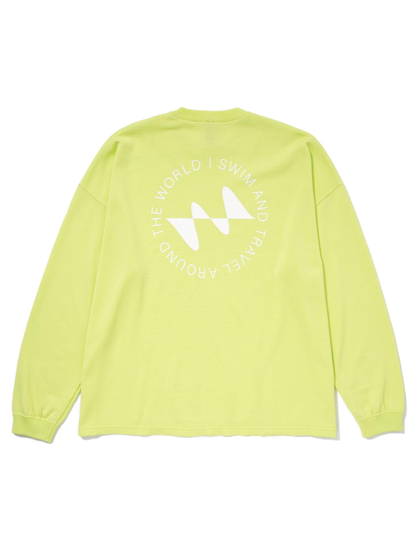 【超撥水】オーガニックコットン100%使用 最高級 I SWIMロゴ長袖Tシャツ -イエロー