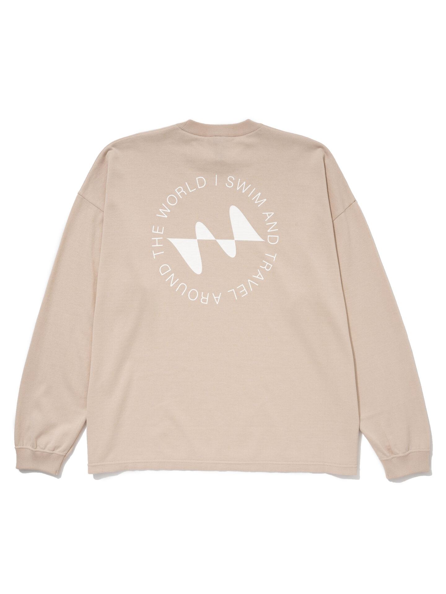 【超撥水】オーガニックコットン100%使用 最高級 I SWIMロゴ長袖Tシャツ -クリーム
